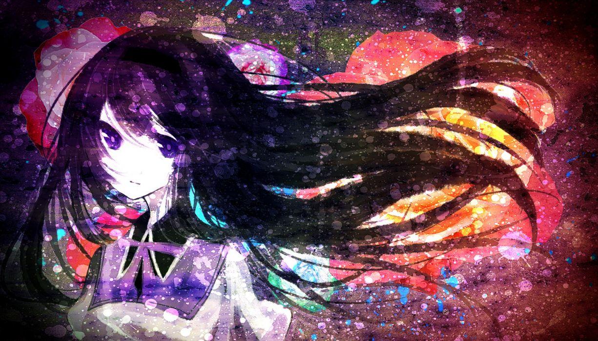 long hair Mahou Shoujo Madoka Magica Akemi Homura purple eyes anime girls black hair wallpaper