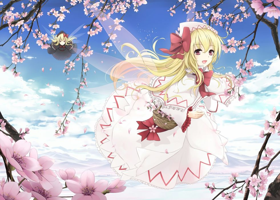 blondes video games clouds Touhou wings cherry blossoms dress flying long hair spring fairies blossoms red eyes bows black dress open mouth baskets flower petals Lily White white dress hats anime girls multiple persona branches hair ornaments skies Lily B wallpaper