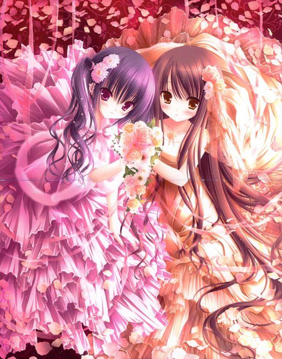 brunettes dress anime pink eyes bouquet golden eyes flower petals Tinkle Illustrations roses anime girls wallpaper