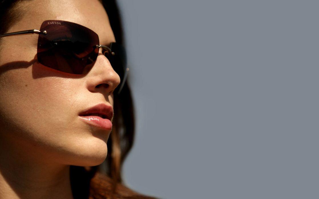 brunettes women actress lips sunglasses Amanda Righetti simple background faces wallpaper