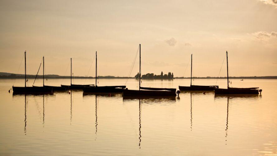 landscapes nature horizon boats sea wallpaper