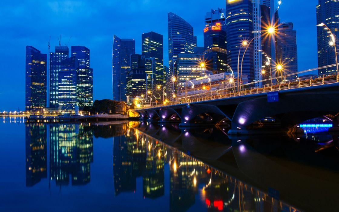 cityscapes dawn bridges Singapore skyscrapers city lights reflections wallpaper