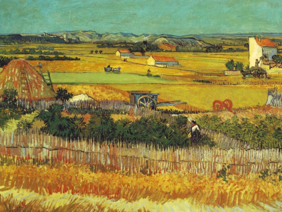 paintings Vincent Van Gogh artwork Plaine de la Crau wallpaper