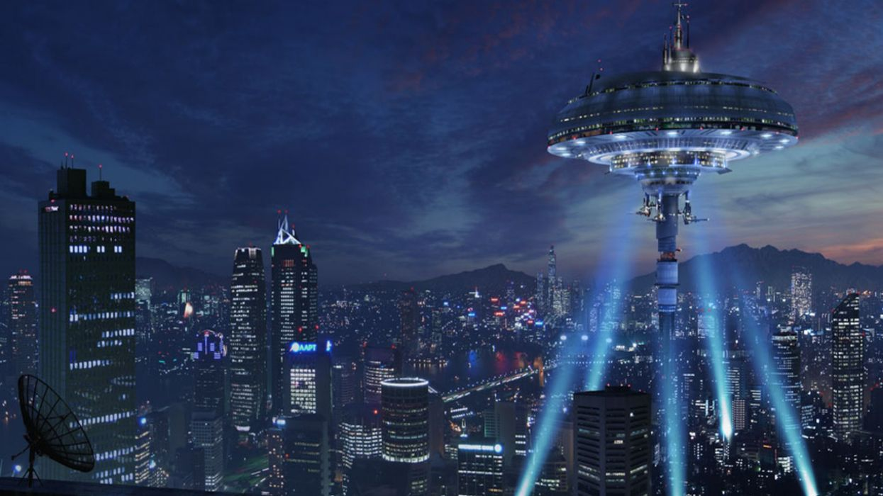 futuristic buildings skyscrapers science fiction wallpaper
