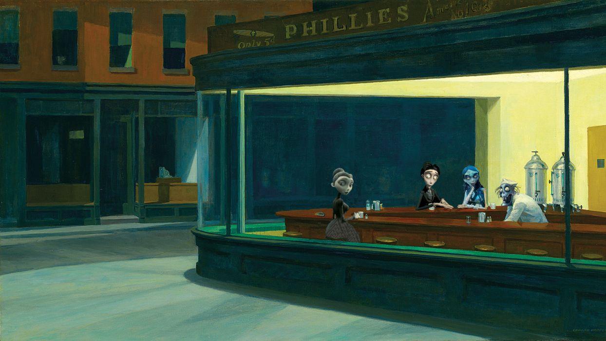 parody Nighthawks At The Diner wallpaper