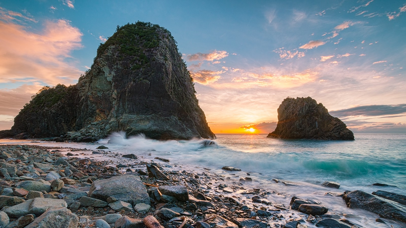 Sunset japan clouds landscapes nature coast white yellow