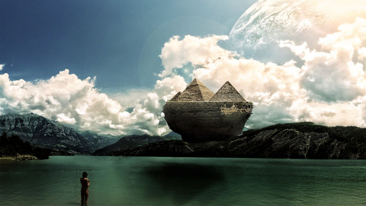 clouds digital art lakes pyramids photo manipulation levitate levitation island in the sky wallpaper