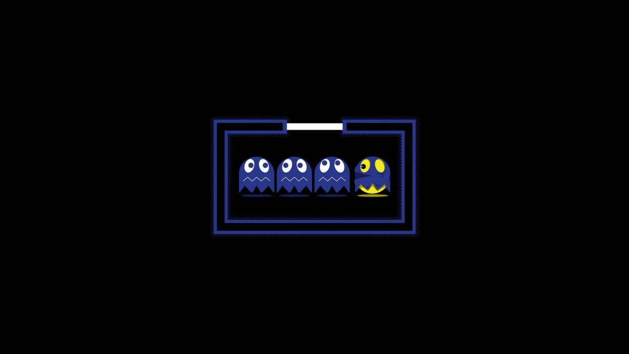 cartoons abstract video games ghosts solid Pac-Man simplistic simple wallpaper