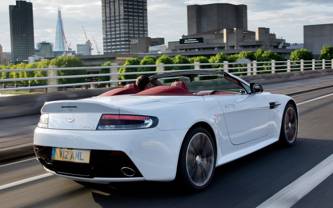 streets cars roads convertible white cars Aston Martin V12 Vantage RS cities wallpaper