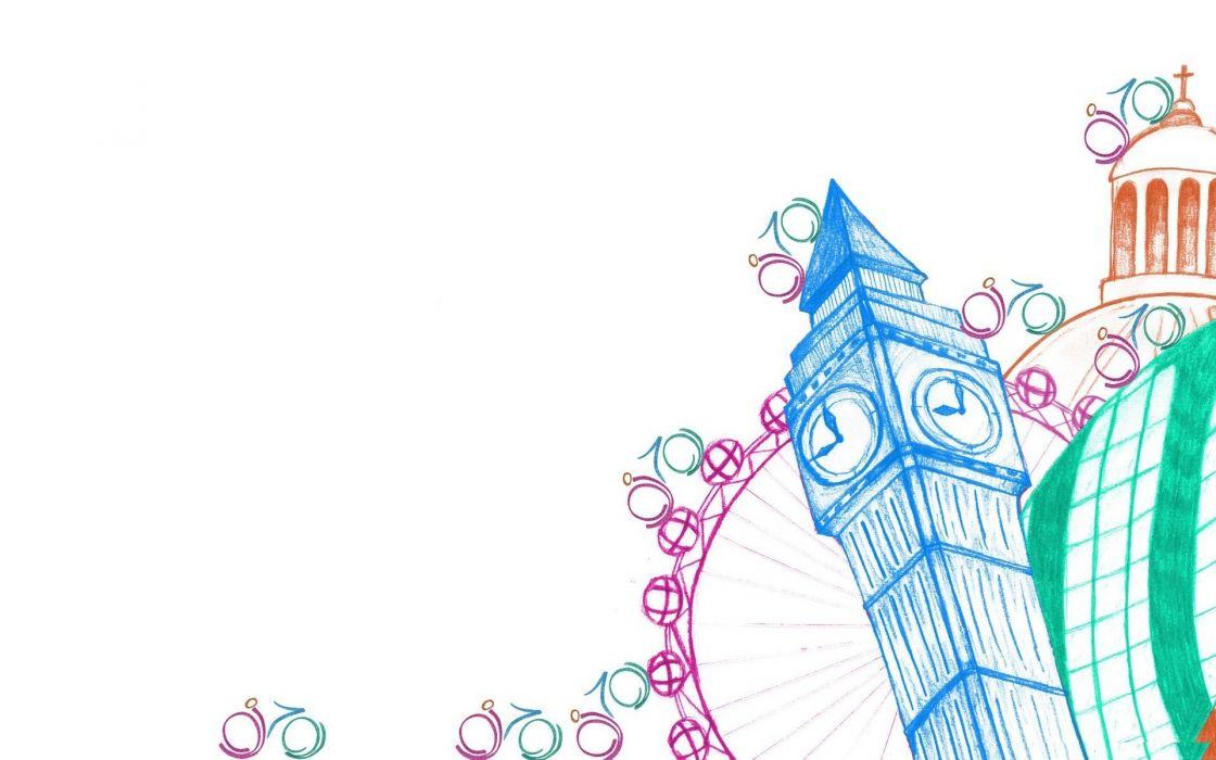 minimalistic summer London Big Ben Olympics simple white background colors Olympics 2012 wallpaper