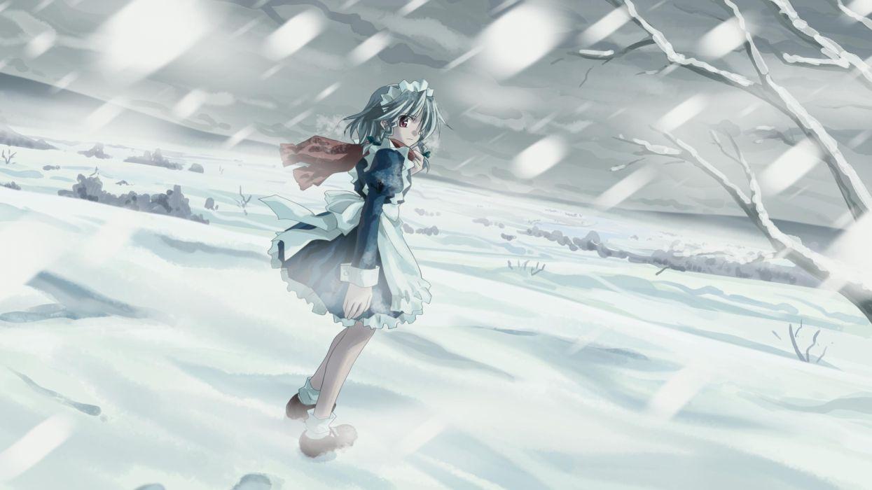 snow Touhou maids Izayoi Sakuya Yuuki Tatsuya wallpaper