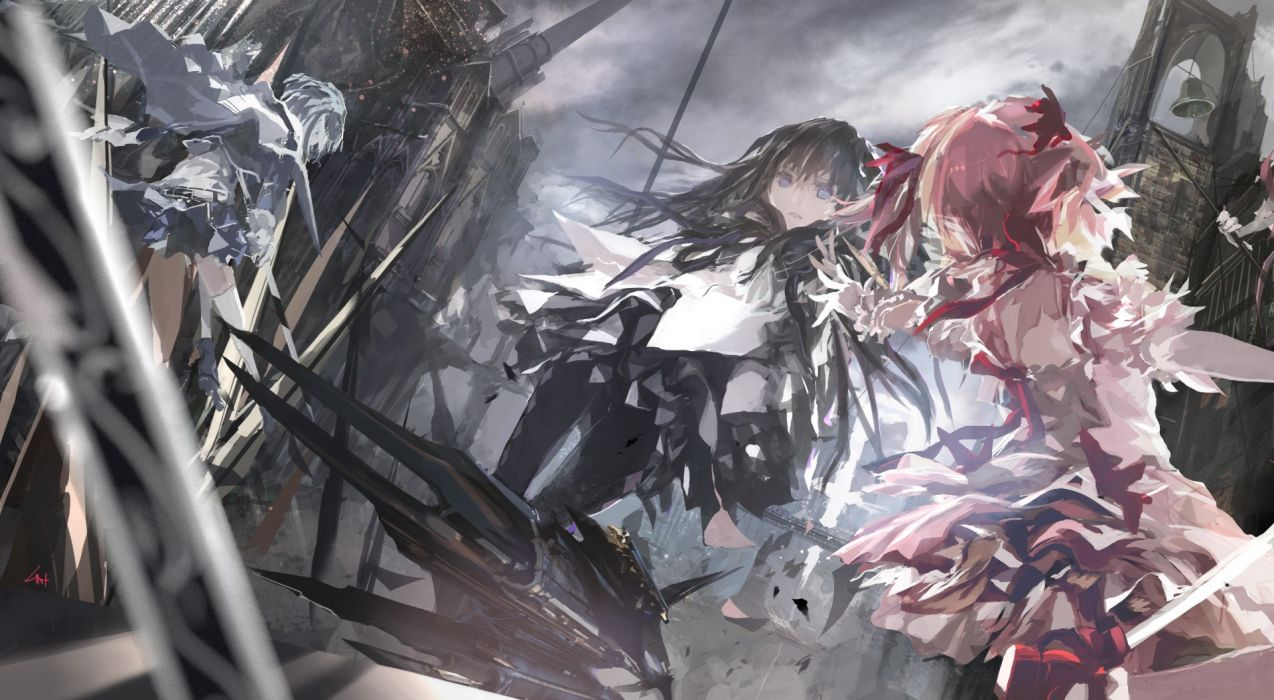 ruins destruction Mahou Shoujo Madoka Magica Miki Sayaka Kaname Madoka anime Akemi Homura anime girls wallpaper