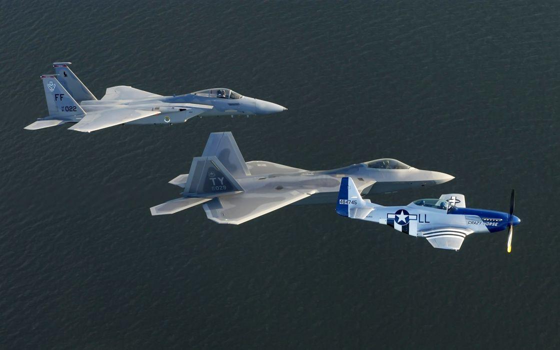 war airplanes F-22 Raptor F-15 Eagle fighter jets P-51 Mustang wallpaper