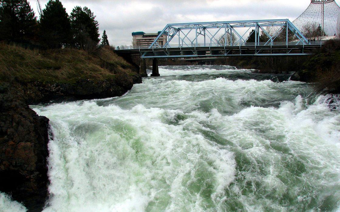 landscapes bridges rivers wallpaper