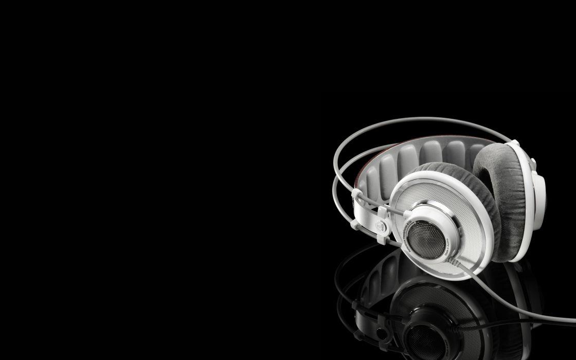 headphones music grayscale earphones monochrome black background wallpaper
