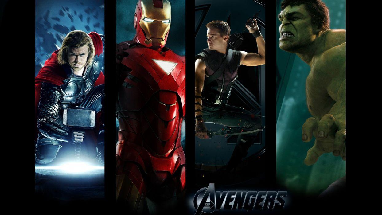 Hulk (comic character) Iron Man Thor Hawkeye Clint Barton Chris Hemsworth Jeremy Renner Mark Ruffalo The Avengers (movie) wallpaper