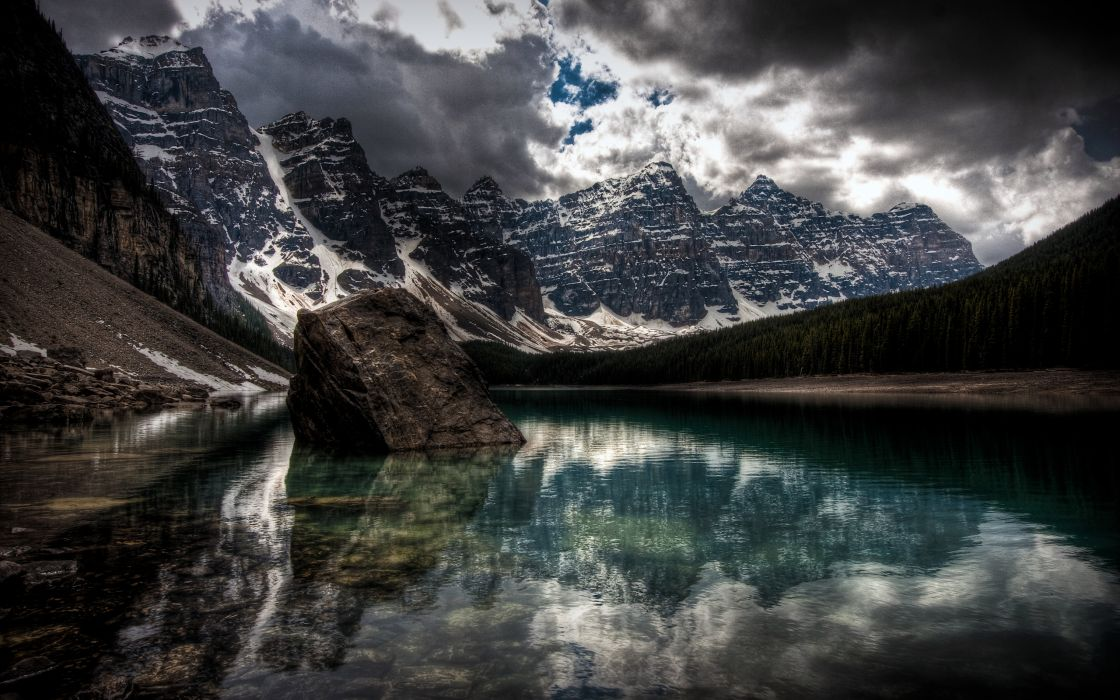 water mountains nature winter snow lakes HDR photography wallpaper