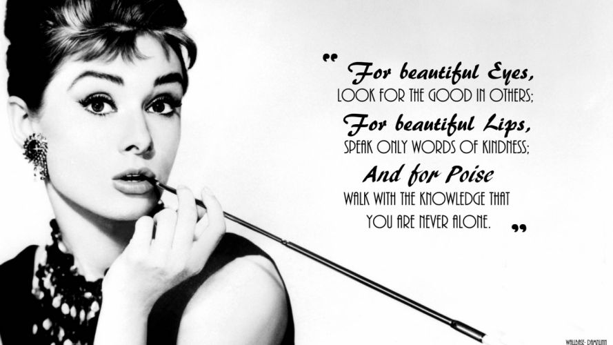 black white quotes Audrey Hepburn wallpaper