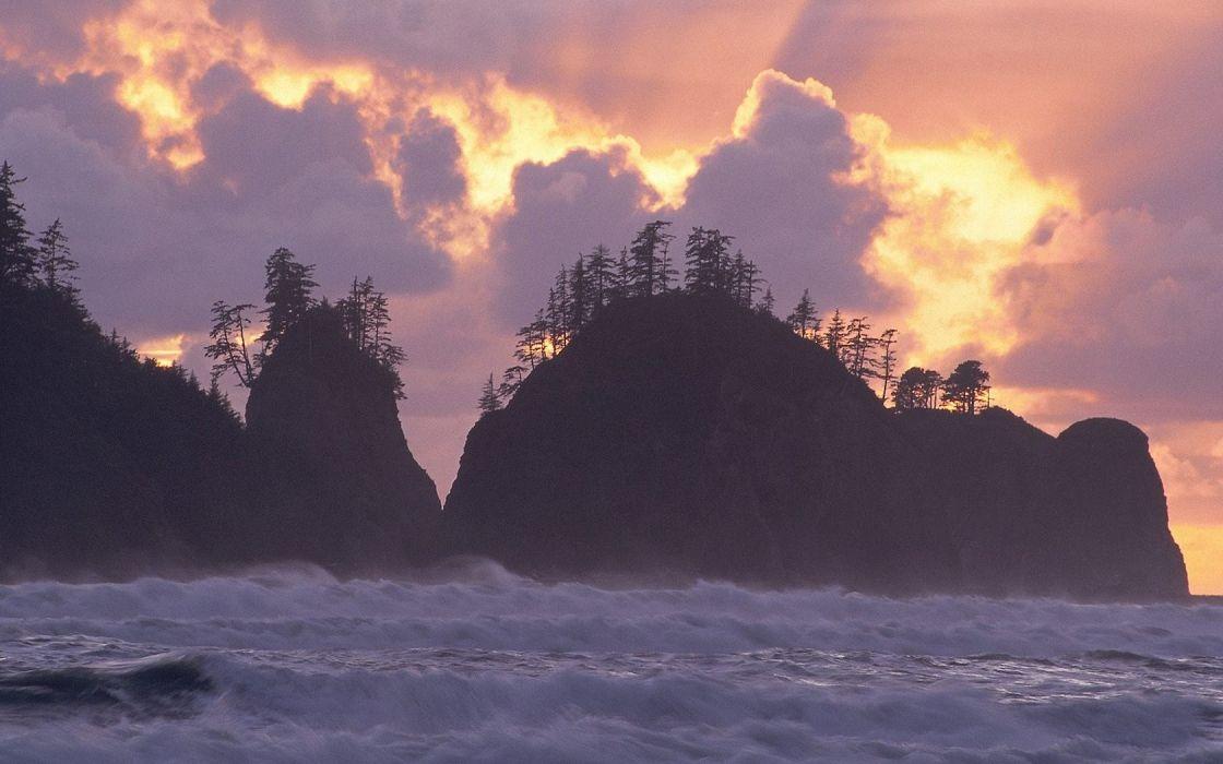 landscapes nature National Park Washington beaches wallpaper