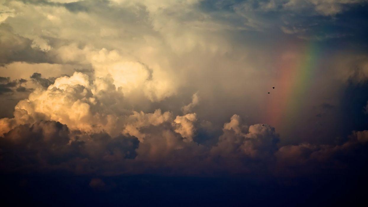 clouds storm rainbows wallpaper