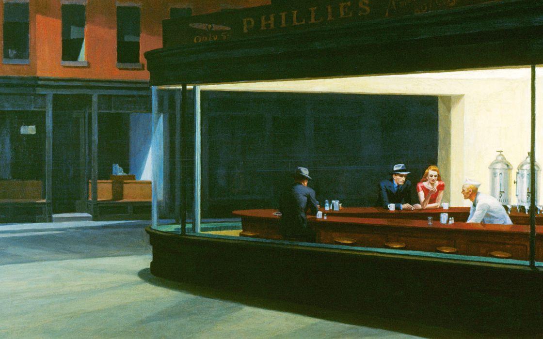 Edward Hopper Nighthawks At The Diner wallpaper