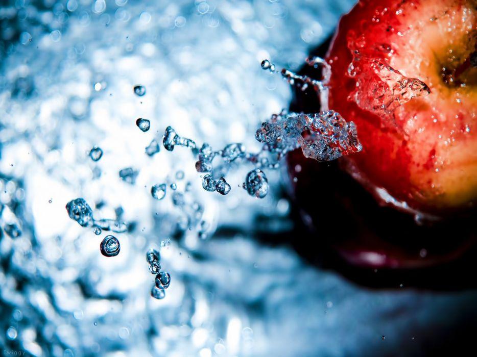 water water drops macro apples splashes wallpaper