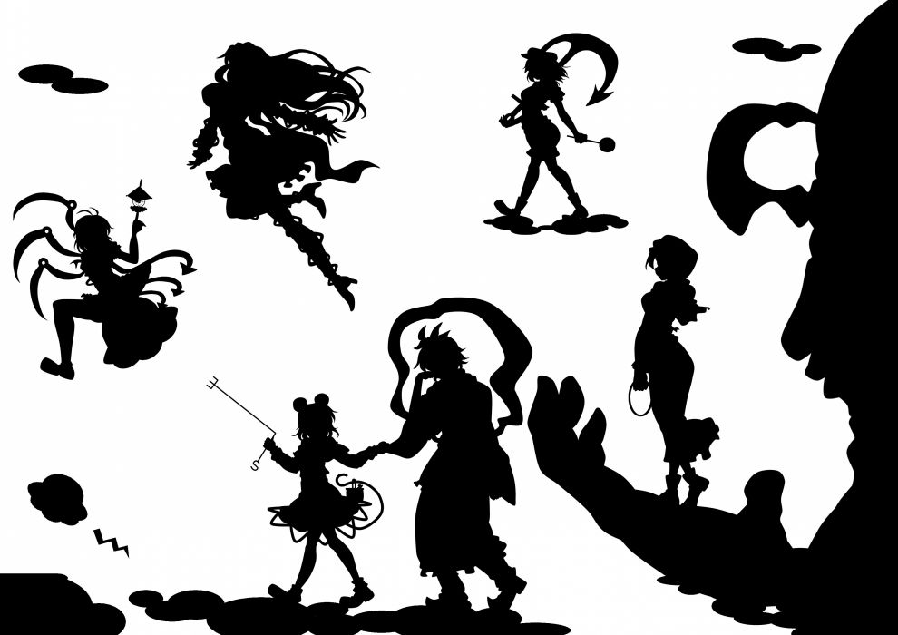 black and white video games Touhou wings flying silhouettes sailors animal ears anchors Hijiri Byakuren Nazrin Kumoi Ichirin Murasa Minamitsu Houjuu Nue Unzan Toramaru Shou anime girls Undefined Fantastic Object wallpaper