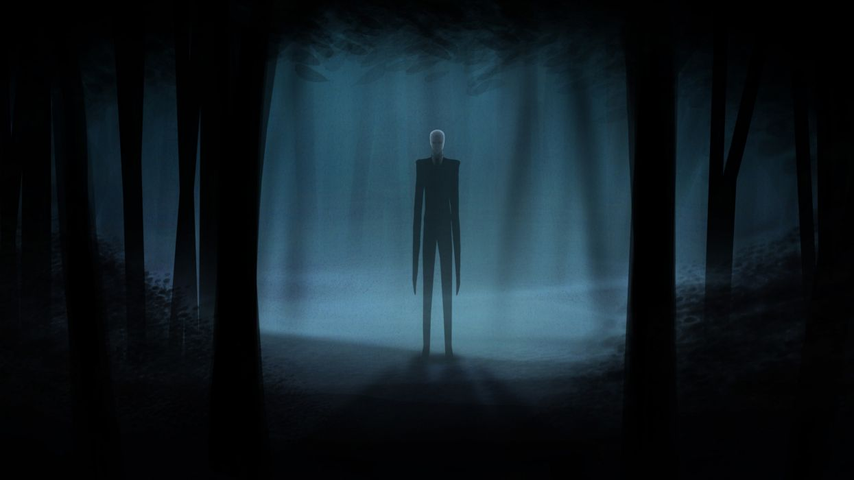 horror video games trees dark forests suit slenderman wallpaper