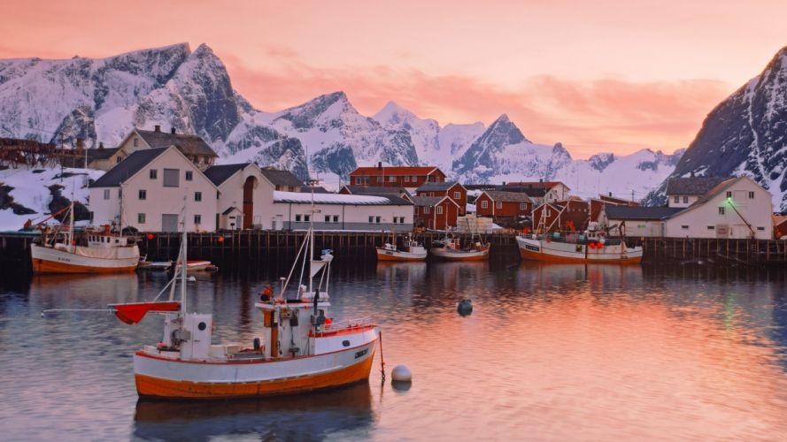 Norway islands villages wallpaper