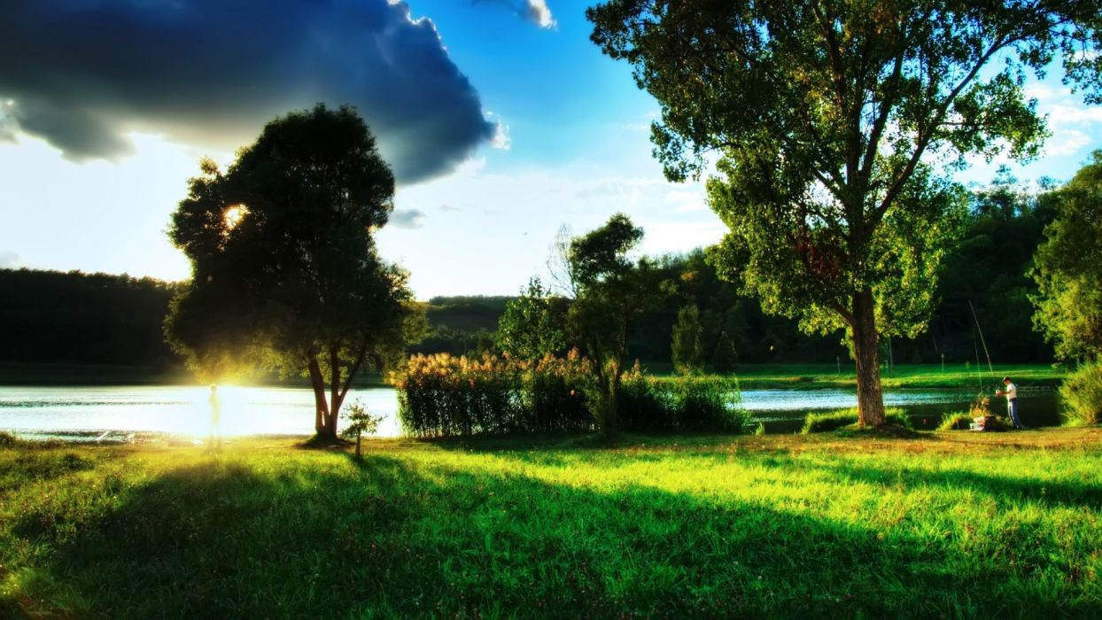 water clouds landscapes trees sunlight lakes wallpaper