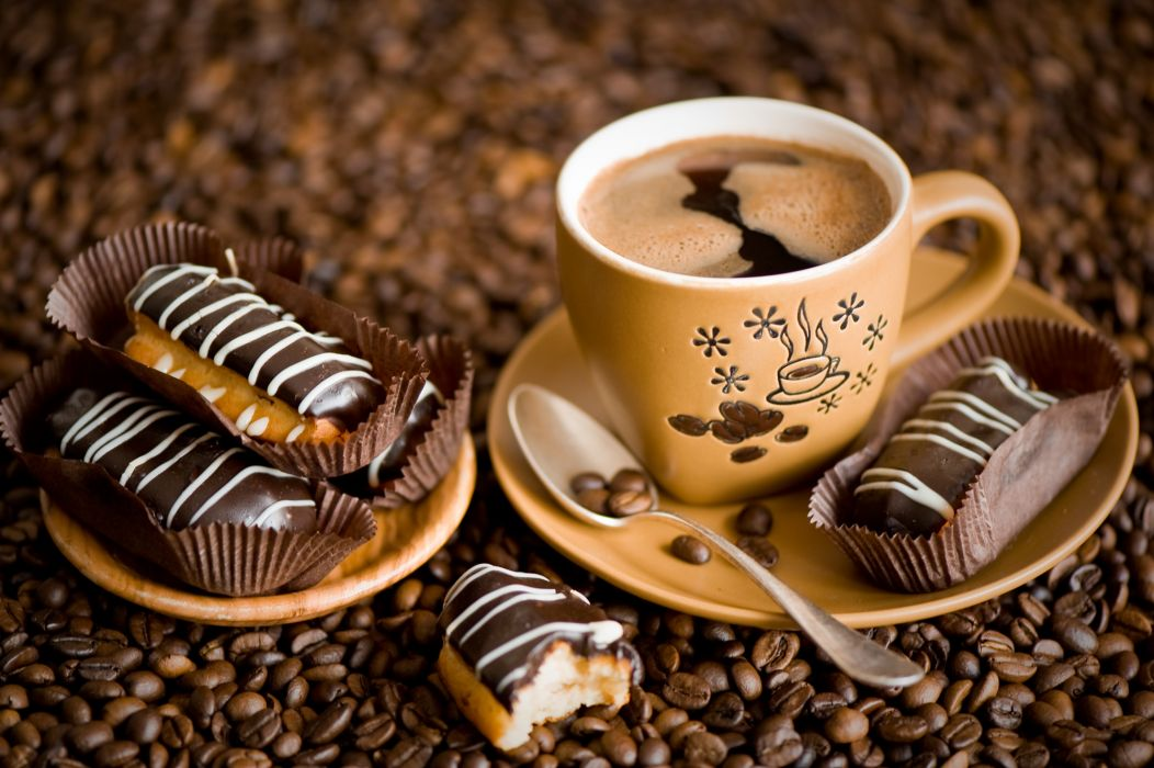 cake eclairs coffee coffee beans    d wallpaper