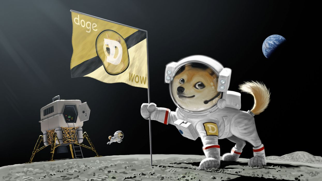 Doge Dog Astronaut Meme Moon Landing Earth Planet Flag Wallpaper