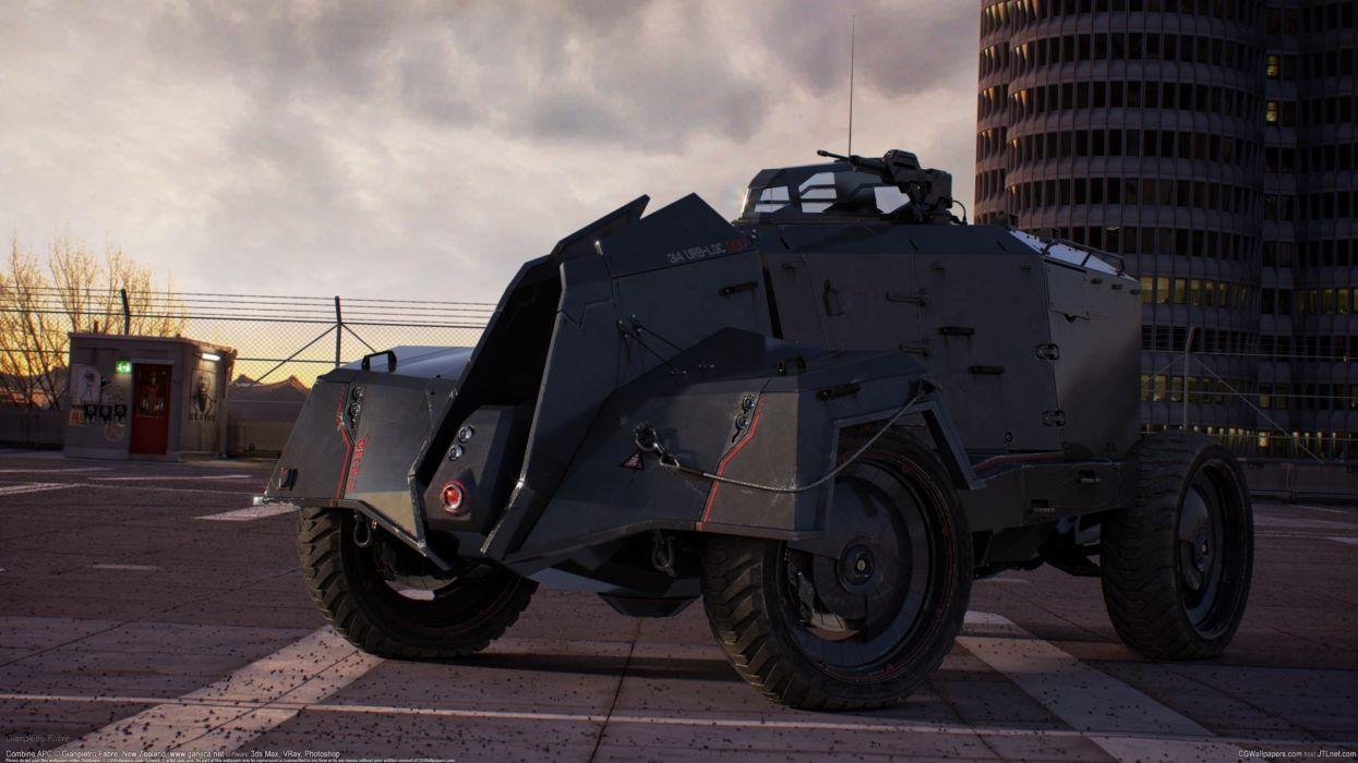 Gianpietro Fabre Combine APC machinery military sci-fi wallpaper