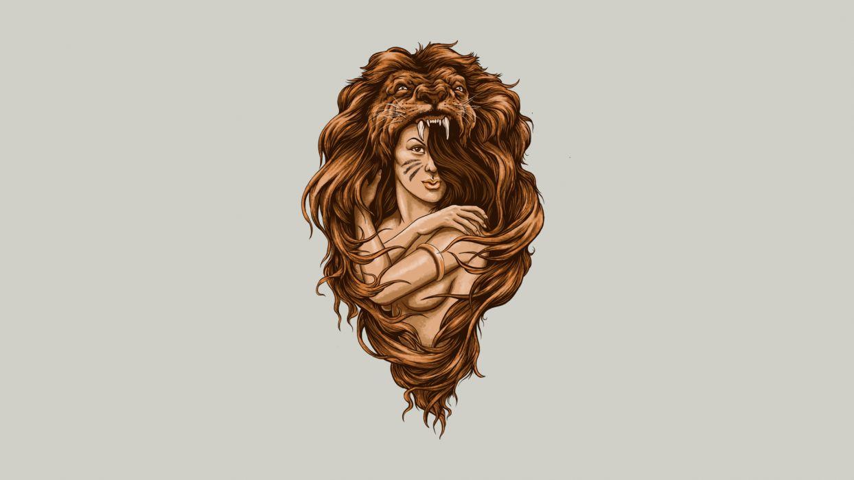 Lion Brunette Abstract wallpaper