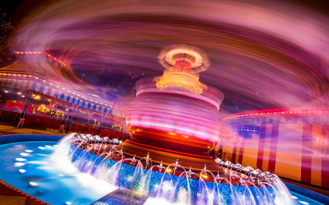 Motion Blur Amusement Park wallpaper
