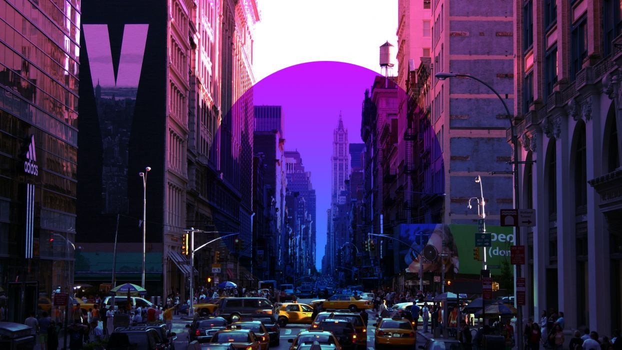 New York Buildings Skyscrapers Purple Circle Street wallpaper
