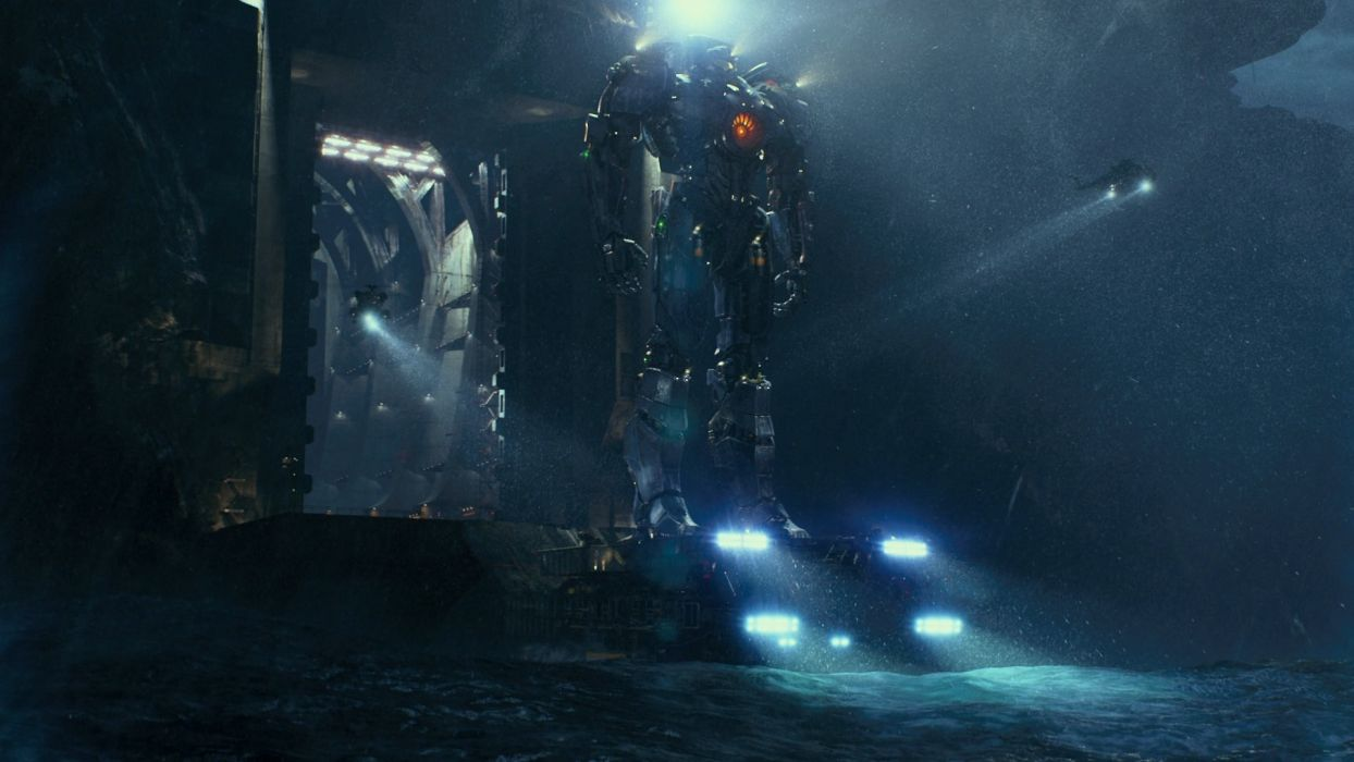 Pacific Rim Giant Robot Helicopter Lights wallpaper