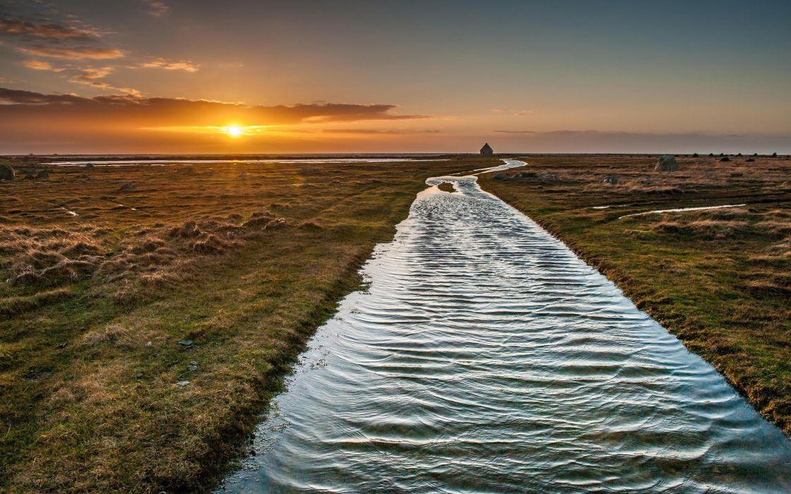 River Sunset Sunlight Landscape wallpaper