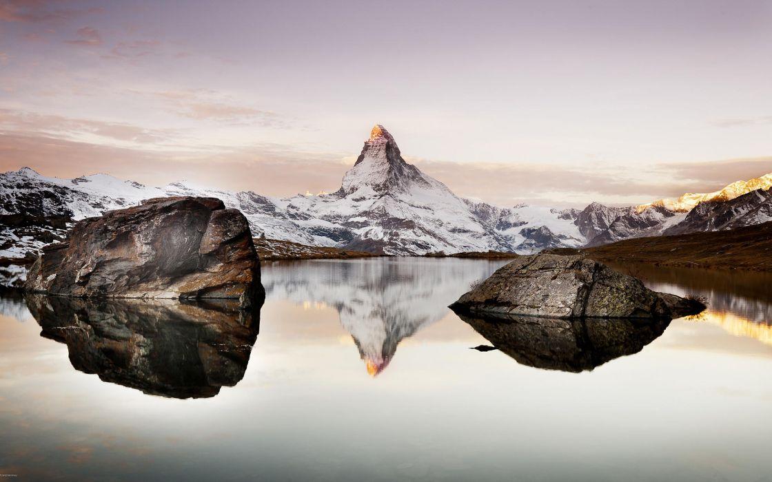 Rocks Stars Lake Reflection Mountains wallpaper