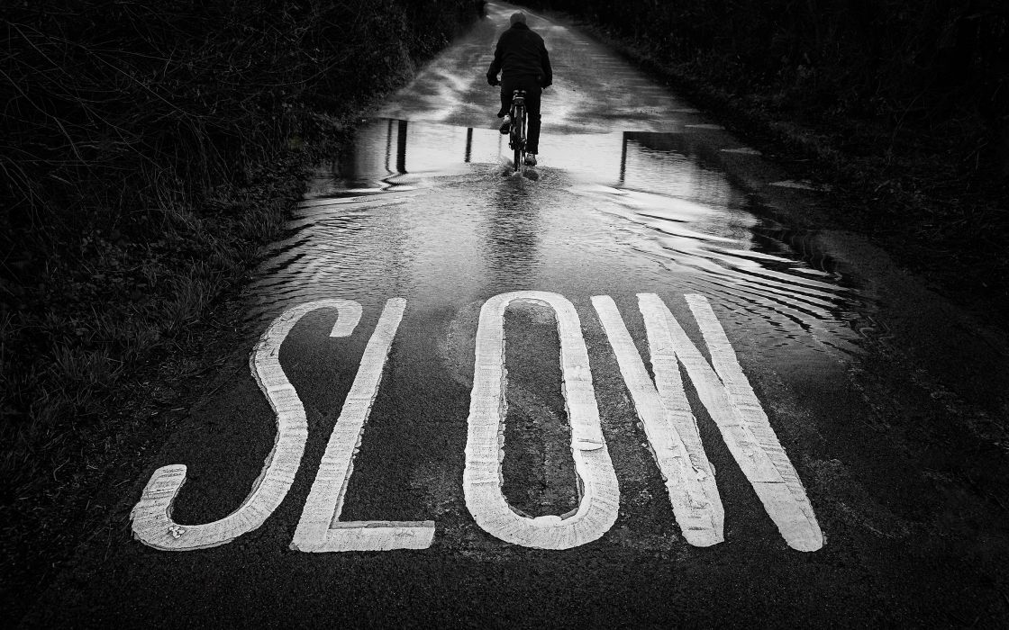Slow BW Road Bicycle Person Puddle wallpaper