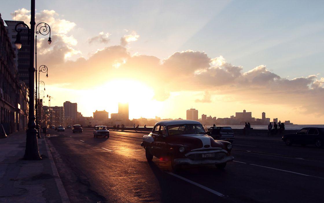Sunlight Sunset Street Classic Car Classic wallpaper