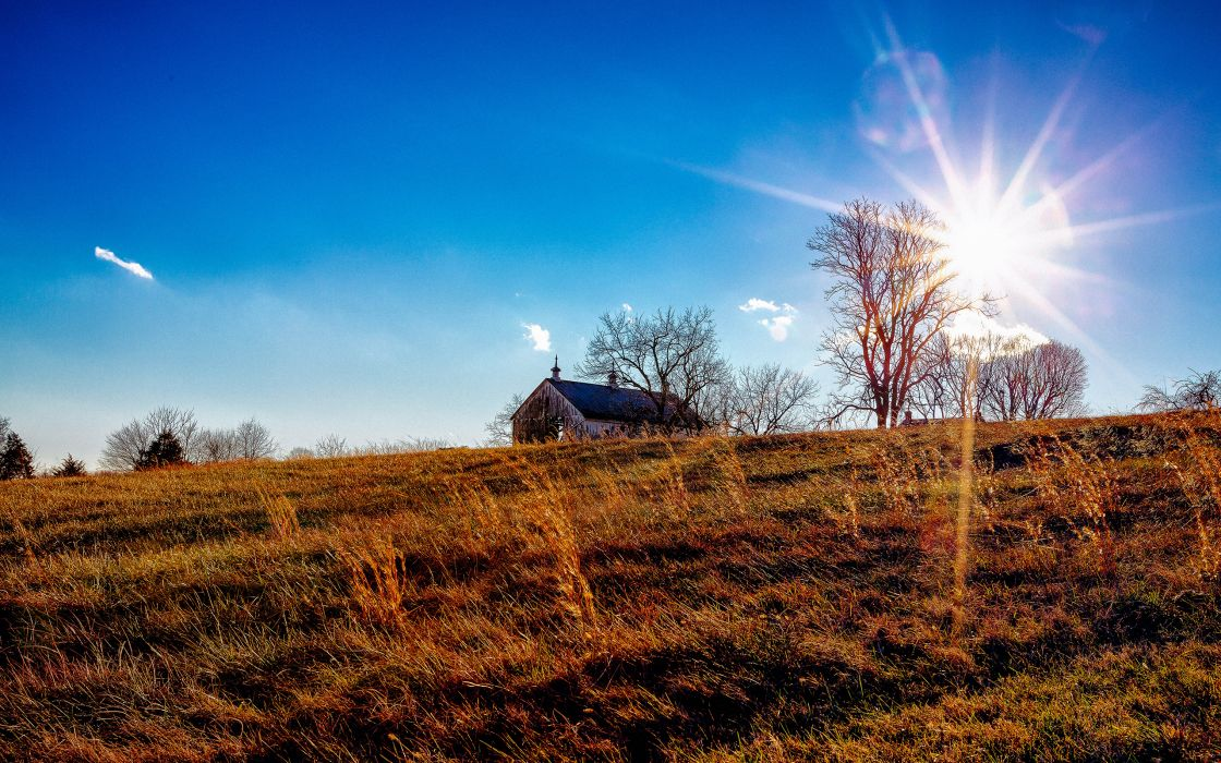 Sunlight Grass house church wallpaper