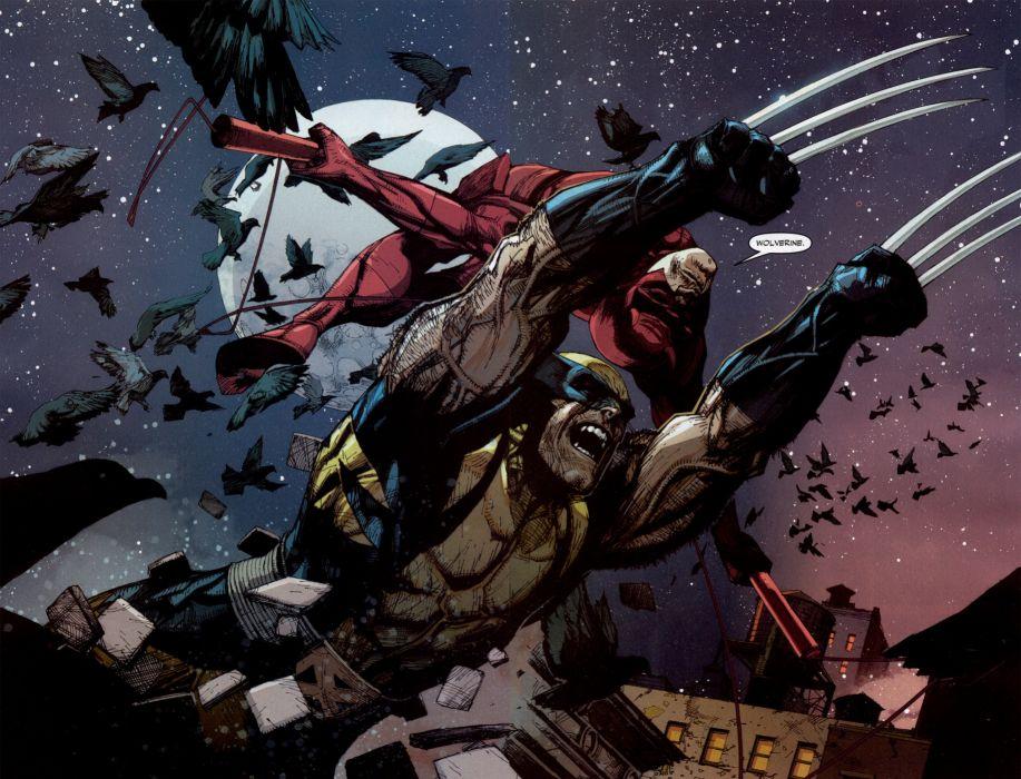 Wolverine Marvel DareDevil Night Stars Jump wallpaper