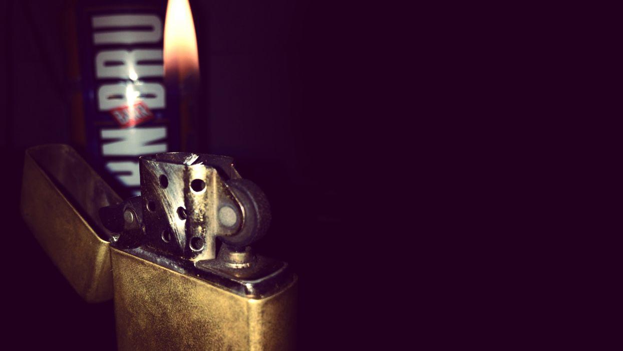 Zippo Lighter Fire Flame Macro Black wallpaper