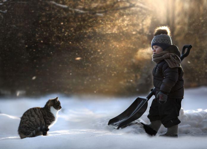 Cats Winter Winter hat Snow Boys Children Animals wallpaper