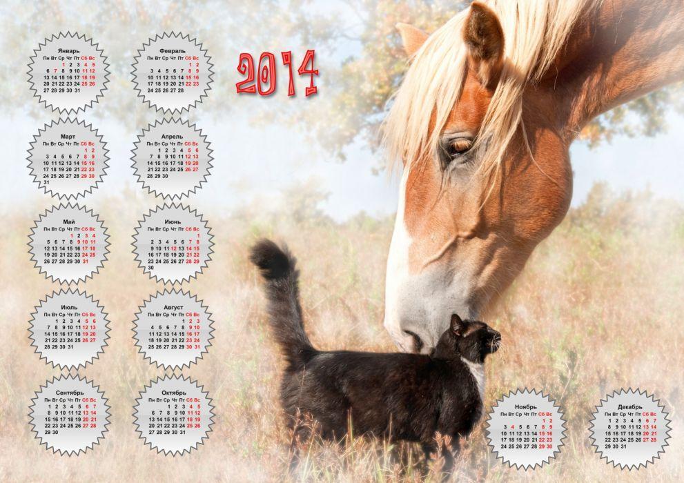 horse cat friends calendar 2014 wallpaper