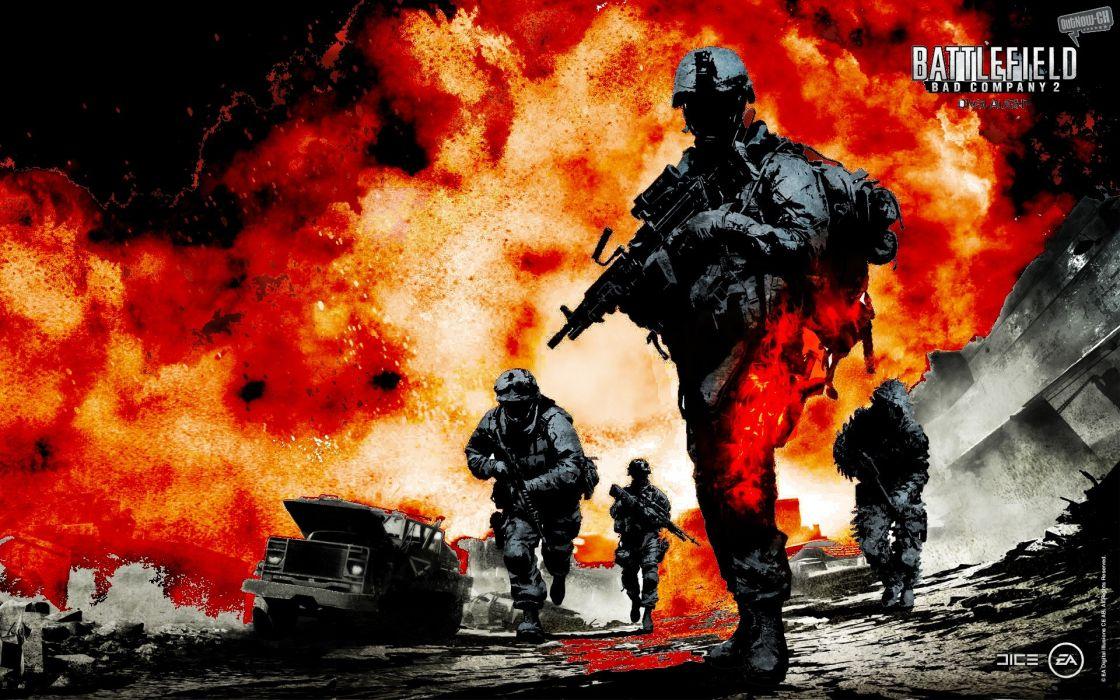 war Battlefield guns explosions Battlefield Bad Company 2 games wallpaper