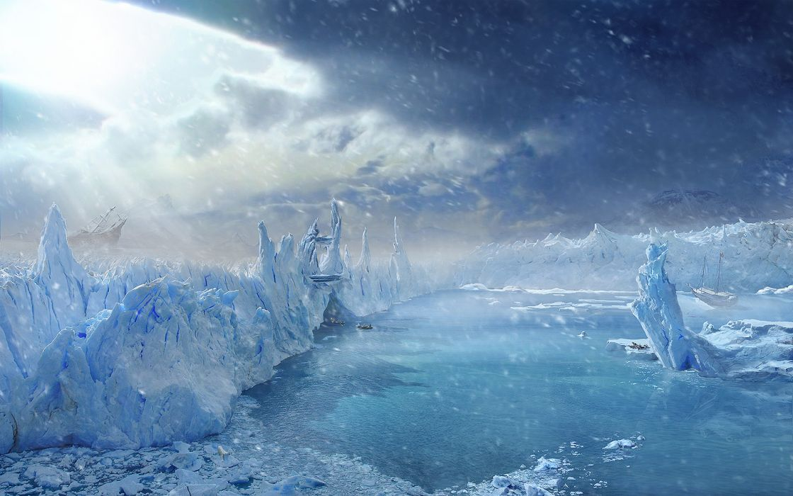 paintings ice clouds snow icebergs wallpaper