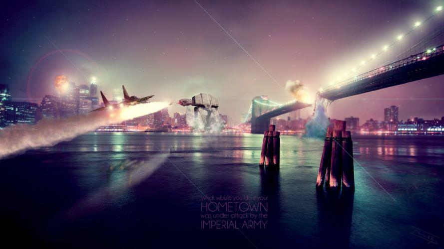 Star Wars aircraft war photo manipulation cities jets Ishiwata AT AT imperial army jun wallpaper