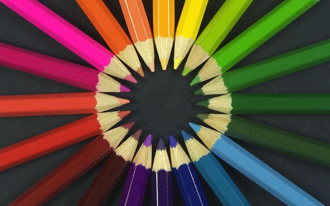multicolor circles crayons rainbows pencils wallpaper